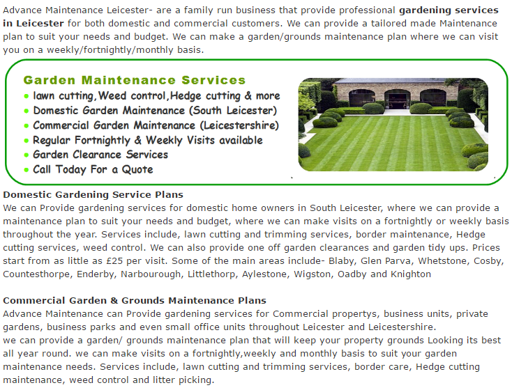 Leicester Gardening Services and Garden maintenance page 2017